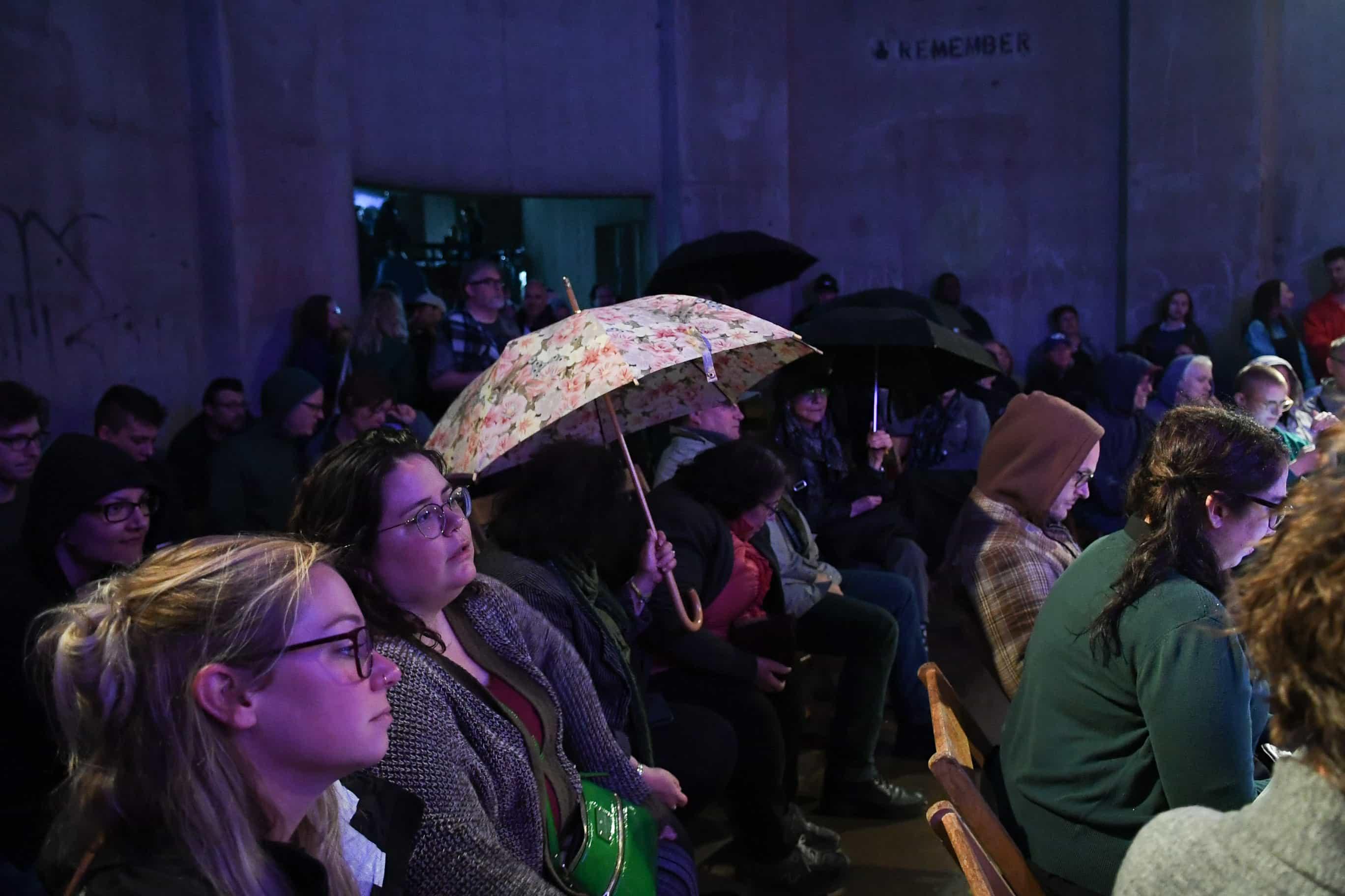 Silo City Reading Series crowd umbrellas