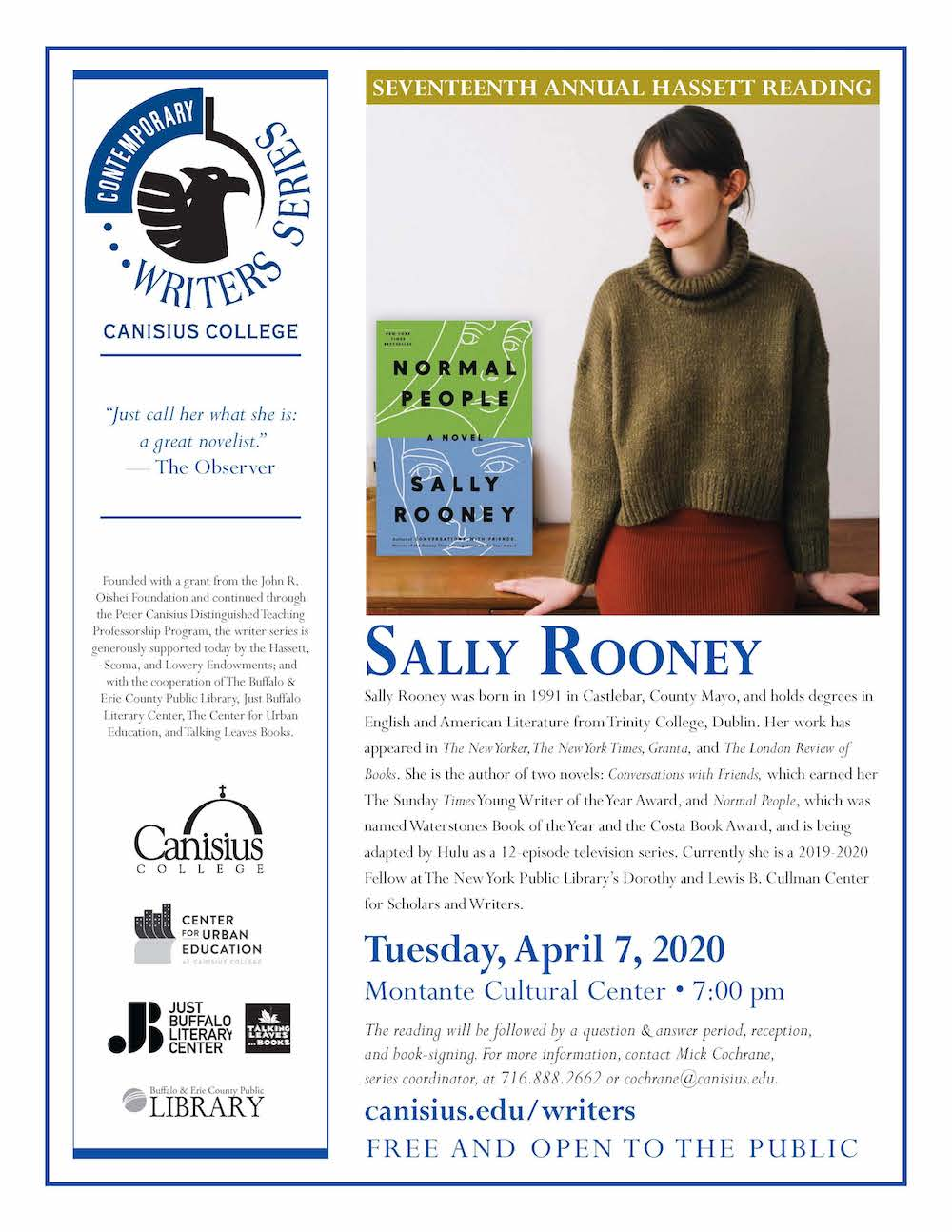 Sally Rooney: Canisius Contemporary Writers Series